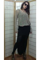 Helmut Lang sweater - Dolce&Gabbana sunglasses - miss mm skirt - Aldo wedges
