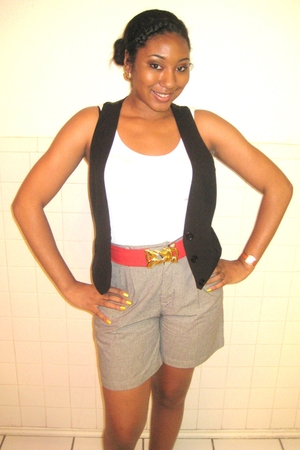 shorts - vest - forever 21 belt - Target shoes