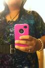 Murano-glass-necklace-shirt-dress-allen-b-dress-black-lulu-belt