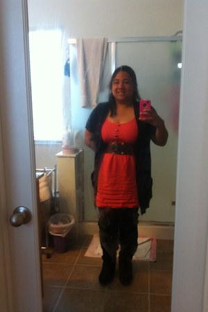 black decree boots - red orange Forever 21 dress - black xhiliration cardigan -