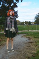 forest green plaid thrifted dress - eggshell menswear thrifted vintage shoes