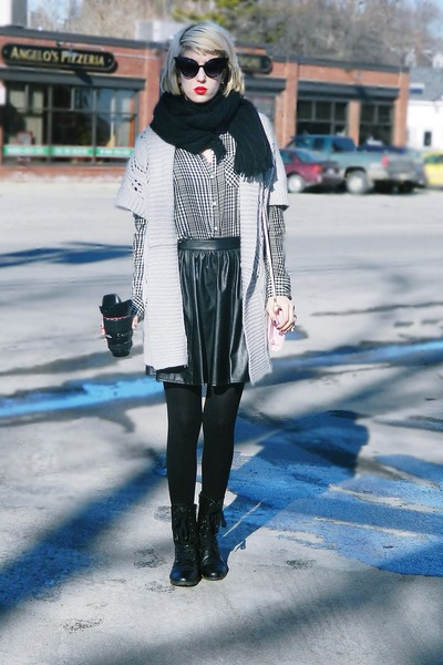 black thrifted boots - silver maxi thrifted sweater - black thrifted scarf