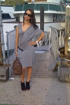 black peep toe Nine West boots - heather gray Alexander McQueen dress - brown eb