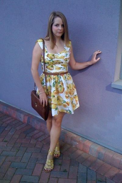 lemon print Primark dress - satchel Urban Outfitters bag - Primark belt - gladia