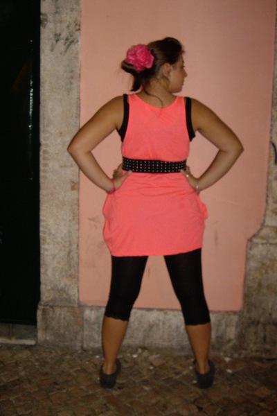 pink top - black cotton top - black glittery lam Superga shoes