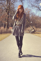 silver H&M skirt - silver H&M cardigan - black New Yorker heels