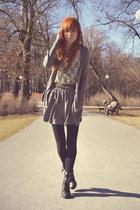 silver H&M skirt - silver H&M cardigan - black New Yorker heels