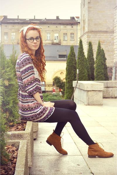 light purple vintage dress - brown pull&bear shoes