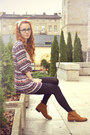 Brown-pull-bear-shoes-light-purple-vintage-dress