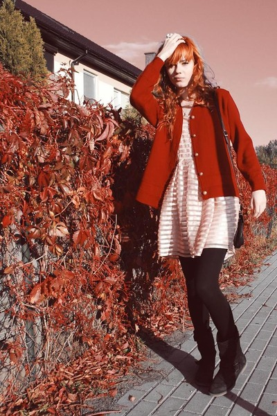 eggshell H&M dress - black Deichmann boots - red vintage sweater