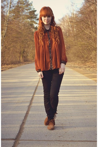 tawny romwe shirt - burnt orange H&M shoes - black H&M pants