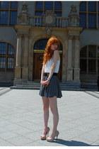 neutral no name heels - eggshell H&M top - heather gray H&M skirt