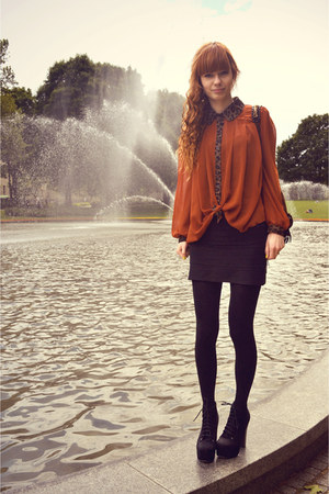 tawny leopard print romwe shirt - black Stradivarius skirt