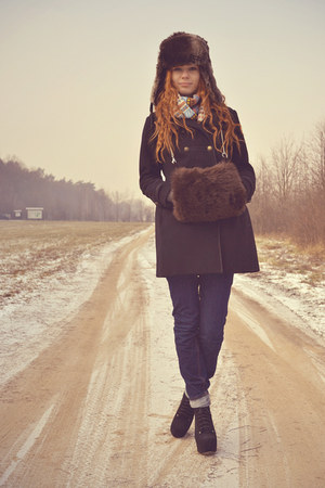 H&amp;M coat - Bershka jeans - vintage scarf - muff c&amp;a gloves - Stylowe Butki heels