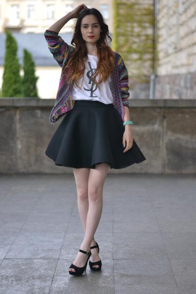 black deezee skirt - white YSL t-shirt