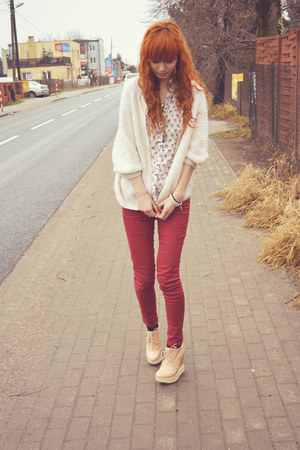 red Bershka pants - eggshell cropp shirt - ivory vintage cardigan