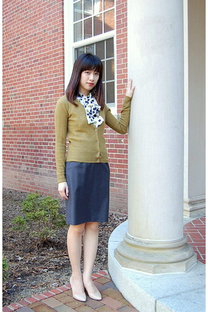white Anthropologie blouse - green JCrew sweater - gray JCrew skirt - beige Stev
