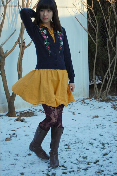 blue Forever 21 sweater - gold modcloth dress - red Target tights - brown Ariat