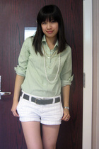 JCrew shirt - Forever 21 necklace - Club Monaco shorts - JCrew belt