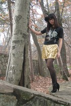 black The Mountain t-shirt - gold joyce leslie dress - black Aerie tights - blac