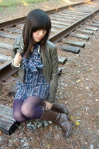 Forever 21 jacket - Forever 21 dress - American Eagle tights - Ariat boots
