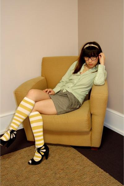green JCrew shirt - gray SilenceNoise skirt - yellow JCrew socks - black seychel