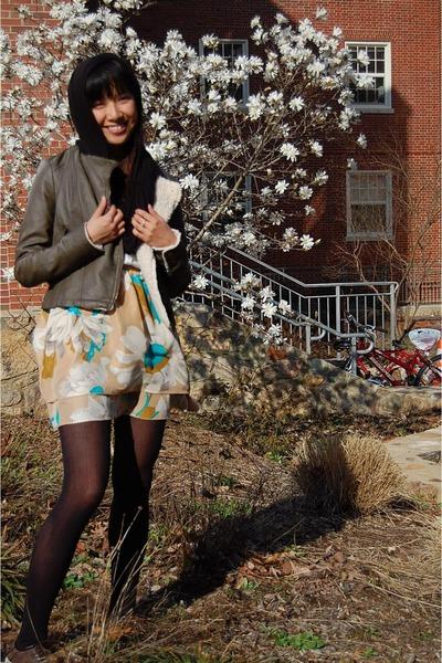 gray Forever 21 jacket - black American Apparel scarf - beige Odille skirt - bla