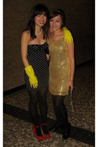 black polka dot American Apparel dress - yellow gold sequin joyce leslie dress