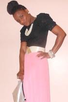 snakeskin Primark belt - foil effect H&M bag - lace sleeves Primark top