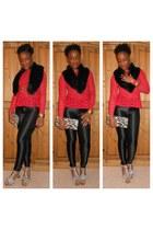 faux fur Divided scarf - clutch bag - peplum top - suede sandals - disco pants
