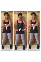 Marc Jacobs watch - boots - striped leggings - Divided vest - feathers necklace