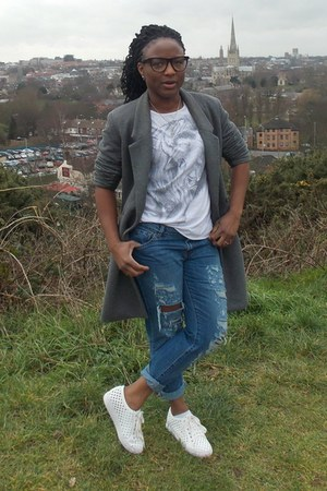 coat - Jeffrey Campbell shoes - warehouse jeans - Topman t-shirt