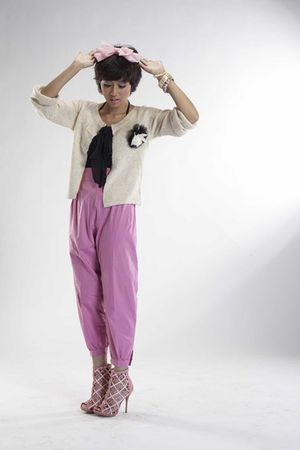 pink michelles - beige iconia cardigan - pink iconia pants - pink GoJane shoes