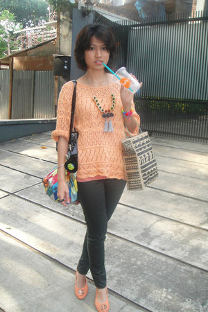vintage top - Cheap Monday jeans - local brand shoes - multicolour bag - custom