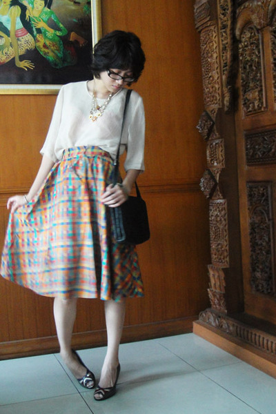 beige thrifted top - thrifted skirt - Grandmas - gold f21 - gray vnc