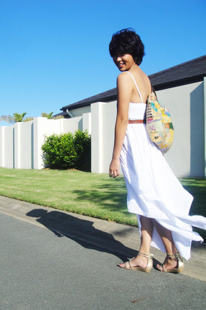 ivory summer Ally dress - yellow batik indonesia local market bag