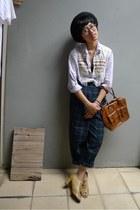 bowler Insight hat - Topshop bag - custom-made peep-toe heels - vintage pants -