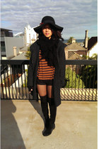 outlet hat - black knee-high suede boots - gray tweed coat coat