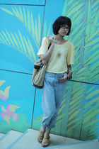 yellow iconia top - vintage jeans - beige localbrand - gold Grandmas - brown loc