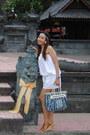 White-dress-blue-louis-vuitton-bag-brown-wedges-white-forever-21-earrings