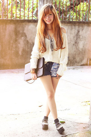navy Bubbles shorts - black OASAP shoes - eggshell Sheinside sweater