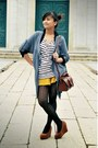 Brown-leather-pull-bear-bag-mustard-yellow-pull-bear-shorts-stripes-h-m-top