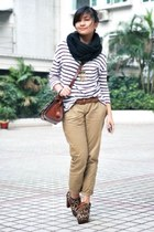 striped H&M shirt - brown pull&bear bag