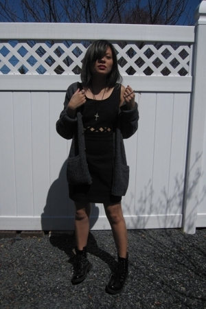 vintage sweater - Topshop dress - Aldo boots