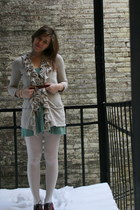 oxford INC shoes - beige INC sweater - aquamarine Anthropologie skirt - tawny Ko