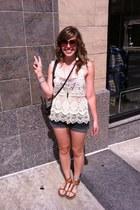 denim Mossimo shorts - floral bandeau American Eagle bra - lace Zara top - studd