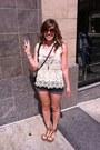 Denim-mossimo-shorts-lace-zara-top-floral-bandeau-american-eagle-bra-studd