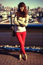 Neutral-acrylic-mixed-forever-21-sweater-ruby-red-skinny-zippered-zara-pants