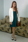Teal-jersey-flowy-people-are-people-dress-white-alexane-blazer