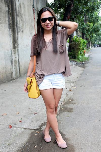 thrifted top - bkk bag - Metro shorts - Penshoppe flats